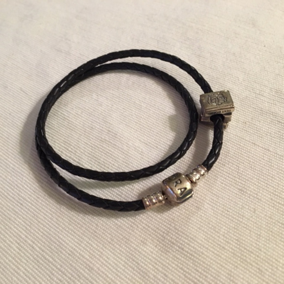 Pandora Jewelry - Pandora Braided Leather Bracelet w/Retired Charm